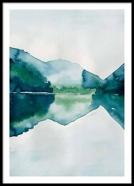 Watercolor Mountain Reflection Affiche dans le groupe Affiches / Formats / 50x70cm chez Desenio AB (10123)