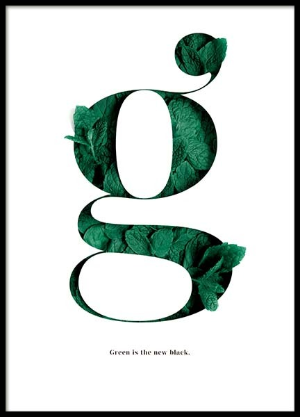 Green Is The New Black Affiche dans le groupe Affiches / Formats / 21x30cm chez Desenio AB (10137)