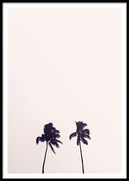Pink Sky Palm Trees Poster in der Gruppe Poster / Naturmotive bei Desenio AB (10170)