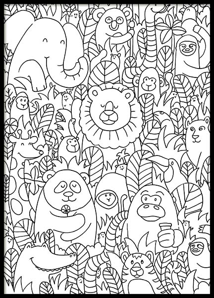 Jungle Friends Poster in der Gruppe Poster / Illustration bei Desenio AB (10205)